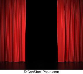 center., tenda, teatro, cinema, luce, spotlit, seta, aperto, rosso