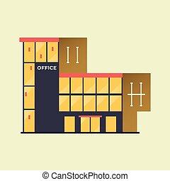 center., ufficio, affari, costruzione.