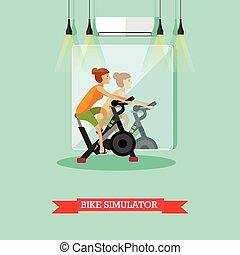 center., vélo, femme, fonctionnement, affiche, gymnase, vecteur, fitness, girl, exercice, dehors