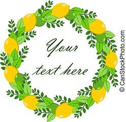 center., vettore, testo, ghirlanda, leaves., illustrazione, fondo, compleanno, limone, matrimonio, bandiera, tuo, calce