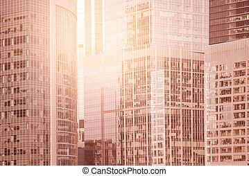 center., ville, bâtiments, murs, business