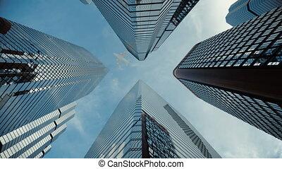 center., ville, mouches, gratte-ciel, business, sur, avion