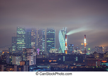 center., vue ville, business, nuit