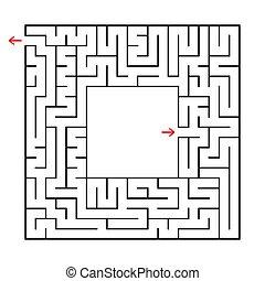 center., wohnung, quadrat, labyrinth., einfache , bild, freigestellt, abbildung, finden, hintergrund., vektor, ort, weg, weißes, dein, heraus