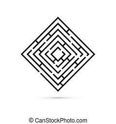 center., wohnung, weg, geschaeftswelt, game., concept., loesung, abbildung, freigestellt, vektor, hintergrund, logik, labyrinth, verwirrung, weißes, rechteck, design.