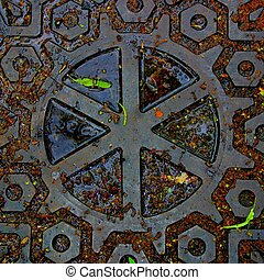 Centered Pattern - Intriguing patterns on a manhole cover in...