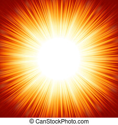 Centered red orange summer sun light burst. EPS 8 vector...