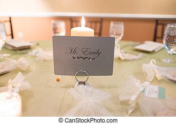 centerpiece, bord, mottagande, bröllop