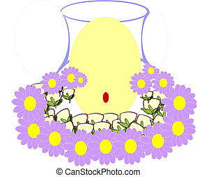 centerpiece with candle surrounded by flowers.