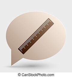 Centimeter ruler sign. Brown gradient icon on bubble with shadow.