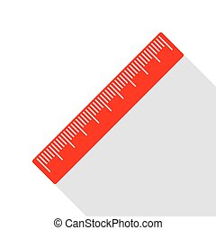 Centimeter ruler sign. Red icon with flat style shadow path.
