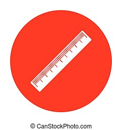 Centimeter ruler sign. White icon on red circle.