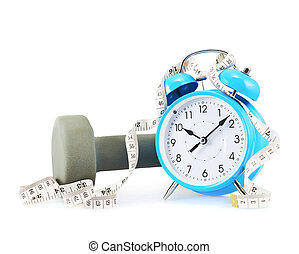 Centimeter tape, clock and dumbbell