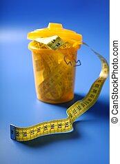 Centimeter tape meter on the trash