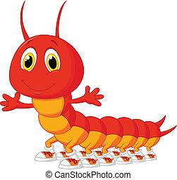 centipede, caricatura, cute