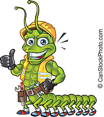 Centipede Mascot - Centipede Construction Worker Mascot for...
