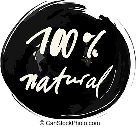 cento, 100, vetorial, natural, etiqueta