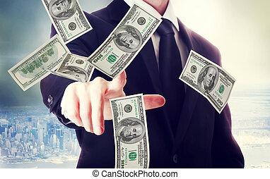 cento, effetti, dollaro, affari, uomo