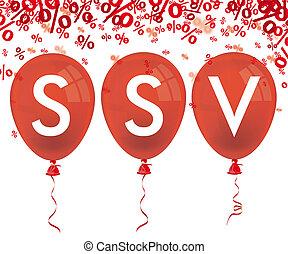 cento, ssv, balões, 3, vermelho