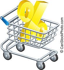 cento, taxa, carro shopping