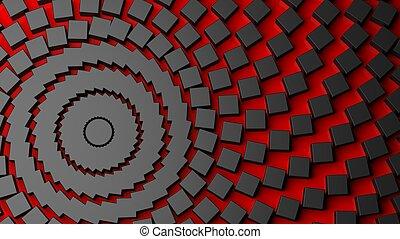 centrífuga, abstratos, preto vermelho, fundo