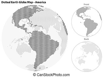 centraal, dotted, globe, aarde, amerika, aanzicht