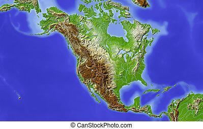 centraal, noorden, gearceerd, amerika, verlichting kaart