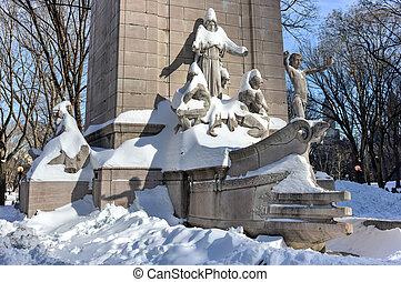 centraal, -, park, uss, monument, nyc, maine