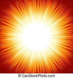 centrado, vermelho, laranja, verão, luz sol, burst., eps, 8