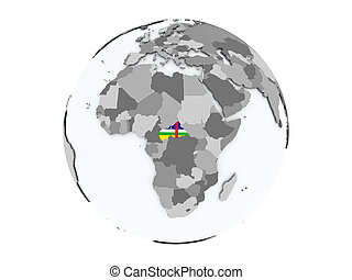 Central Africa on globe isolated