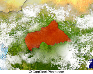 Central Africa on map with clouds