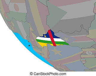 Central Africa with flag on 3D globe