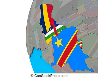 Central Africa with flags on 3D globe