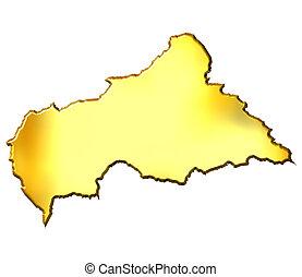 Central African Republic 3d Golden Map