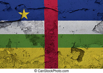 Central African Republic flag painted on the cracked grunge concrete wall