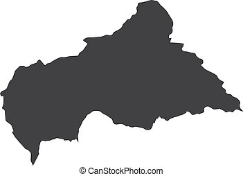 Central African Republic map in black on a white background. Vector illustration
