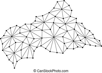 Central African Republic map of polygonal mosaic lines...