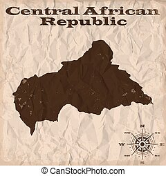 Central African Republic old map with grunge and crumpled...