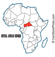 Central African Republic outline inset into a map of Africa...