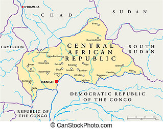 Central African Republic Political - Political map of...