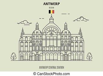 central, amberes, estación, señal, belgium., icono