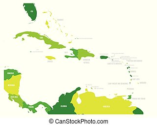 Central America and Caribbean states political map in four shades of green with black country names labels. Simple flat vector illustration