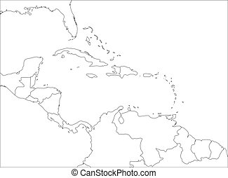 Central America and Carribean states political map. Black outline borders. Simple flat vector illustration
