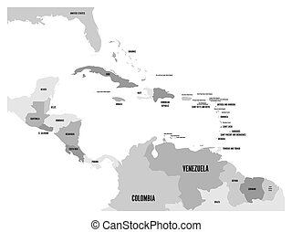 Central America and Carribean states political map in four shades of grey with black country names labels. Simple flat vector illustration