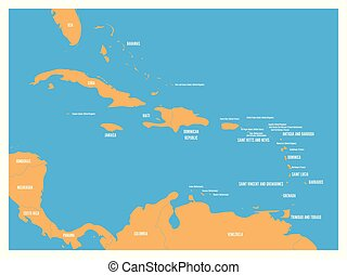 Central America and Carribean states political map. Yellow land with black country names labels on blue sea background. Simple flat vector illustration