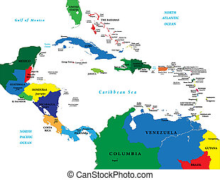 Highly detailed vector, map of the caribbean area