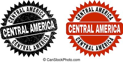 CENTRAL AMERICA Black Rosette Stamp with Grunge Surface