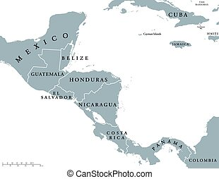 Central America countries map