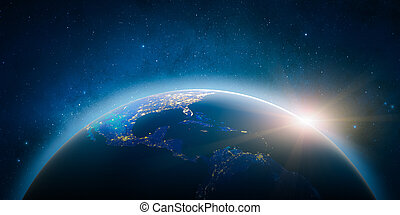 Central America. Elements of this image furnished by NASA -...