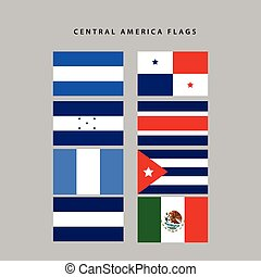 Central america flags - Set of flags from central america,...